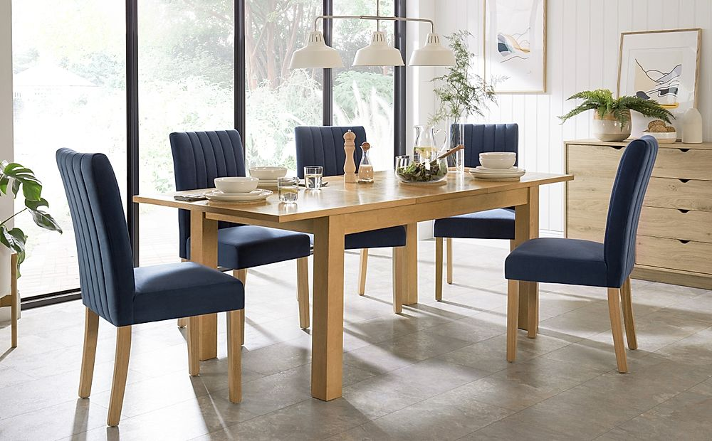 Hamilton Oak 150-200cm Extending Dining Table with 6 Salisbury Blue Velvet Chairs