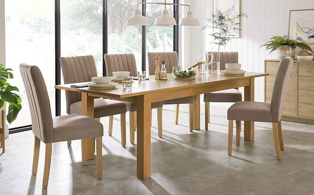 Hamilton Oak 180-230cm Extending Dining Table with 6 Salisbury Mink Velvet Chairs
