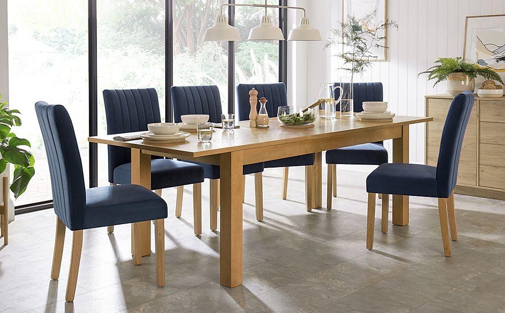 Hamilton Oak 180-230cm Extending Dining Table with 4 Salisbury Blue Velvet Chairs
