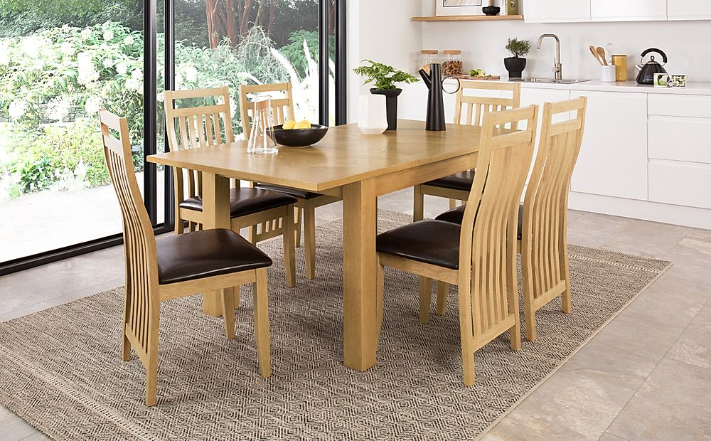 Madison 120-170cm Oak Extending Dining Table with 4 Bali Chairs (Brown Leather Seat Pad)
