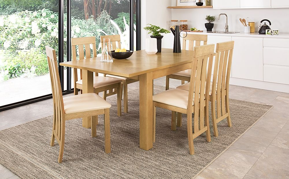 Madison 120-170cm Oak Extending Dining Table with 6 Chester Chairs (Ivory Leather Seat Pad)