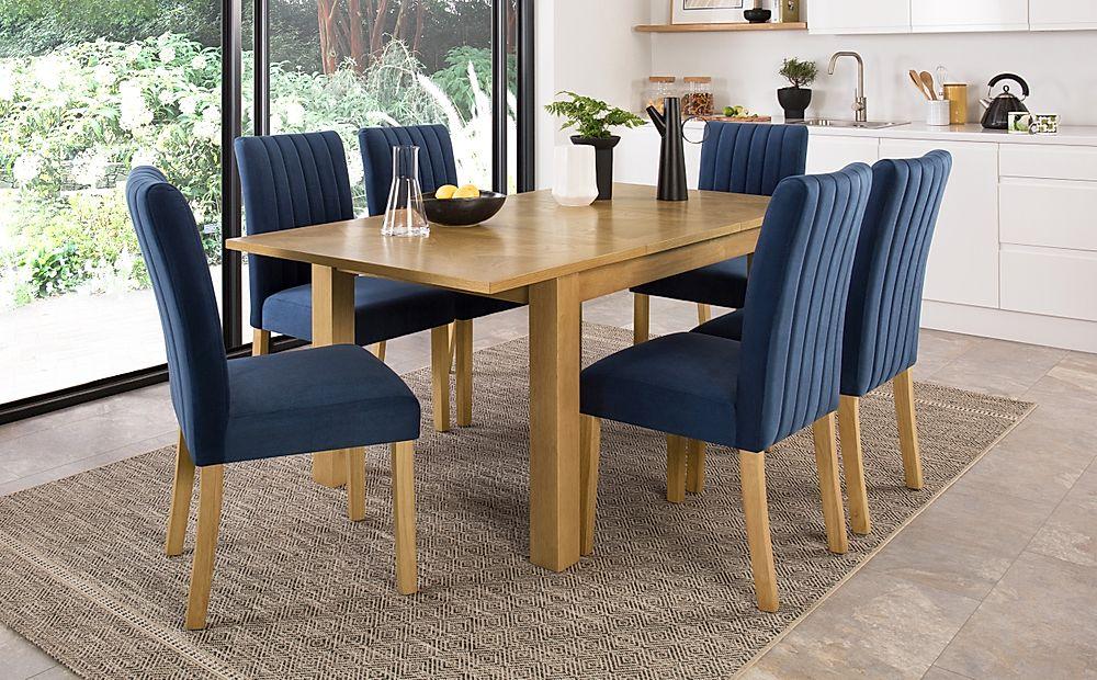 Madison 120-170cm Oak Extending Dining Table with 4 Salisbury Blue Velvet Chairs