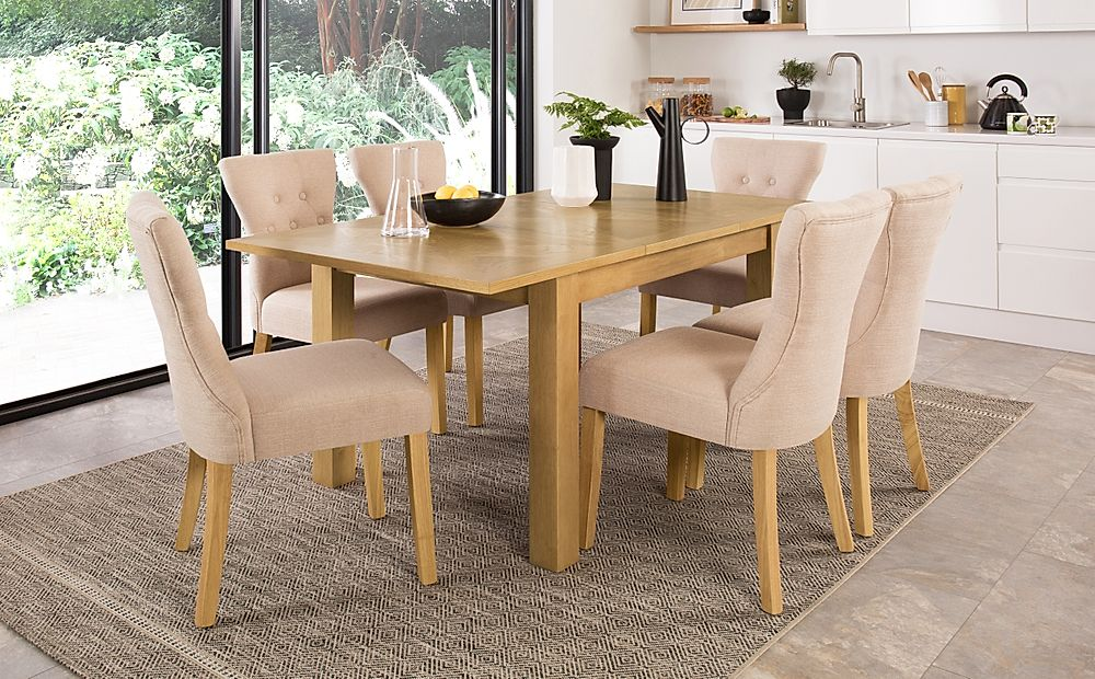 Madison 120-170cm Oak Extending Dining Table with 4 Bewley Oatmeal Fabric Chairs
