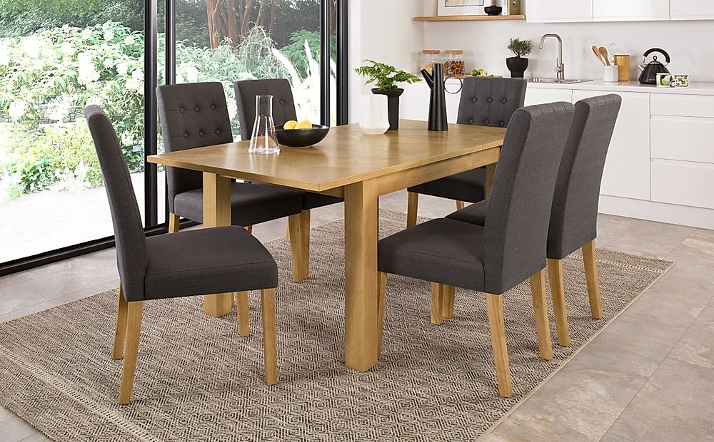 Madison 120-170cm Oak Extending Dining Table with 4 Regent Slate Fabric Chairs
