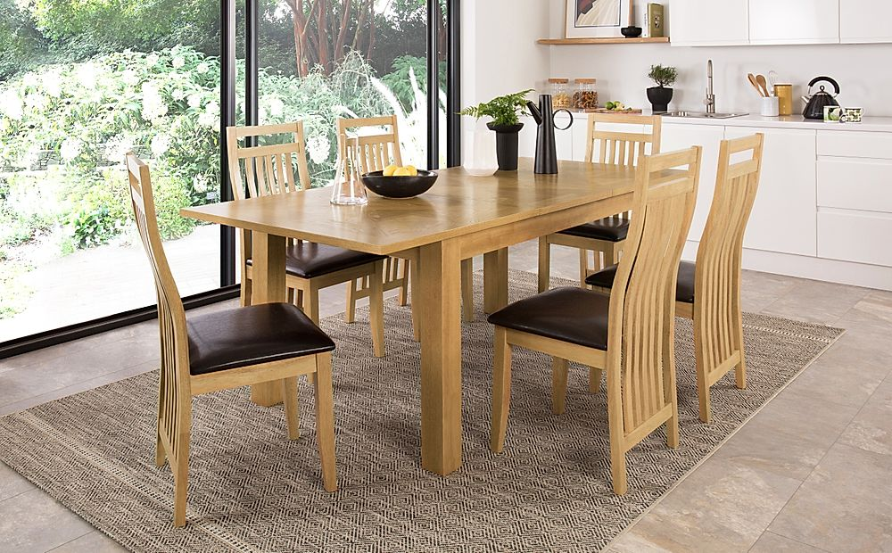 Madison 150-200cm Oak Extending Dining Table with 4 Bali Chairs (Brown Leather Seat Pad)