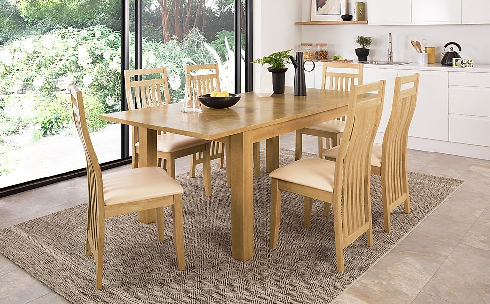 Madison 150-200cm Oak Extending Dining Table with 4 Bali Chairs (Ivory Leather Seat Pad)