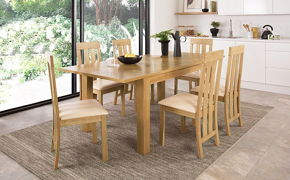 Madison 150-200cm Oak Extending Dining Table with 4 Chester Chairs (Ivory Leather Seat Pad)