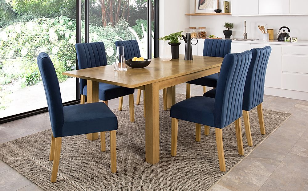 Madison 150-200cm Oak Extending Dining Table with 6 Salisbury Blue Velvet Chairs