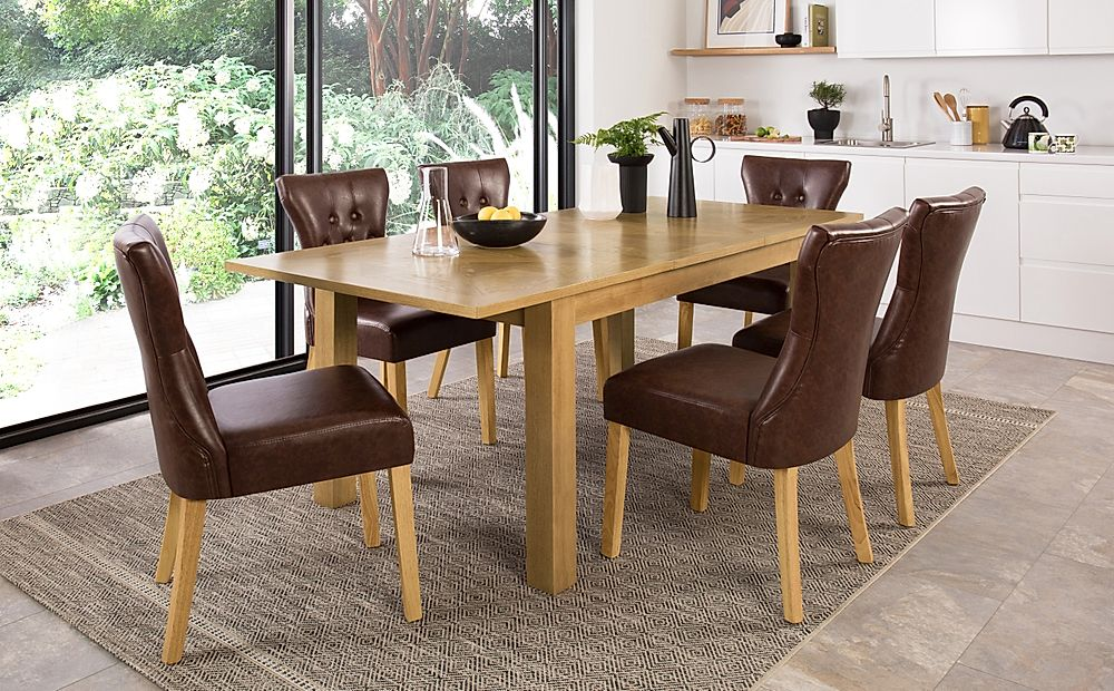 Madison 150-200cm Oak Extending Dining Table with 4 Bewley Club Brown Leather Chairs