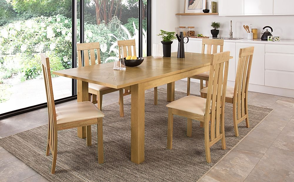 Madison Oak 180-230cm Extending Dining Table with 8 Chester Chairs (Ivory Leather Seat Pad)