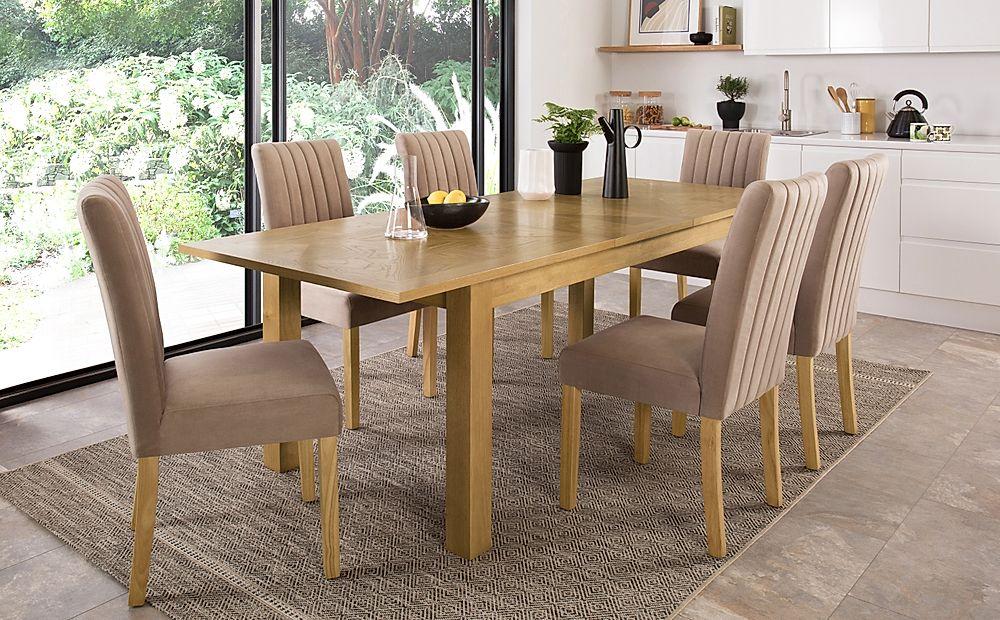 Madison Oak 180-230cm Extending Dining Table with 8 Salisbury Mink Velvet Chairs