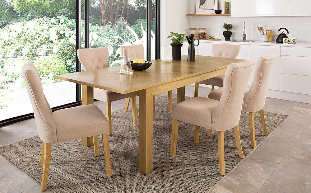 Madison Oak 180-230cm Extending Dining Table with 6 Bewley Oatmeal Fabric Chairs