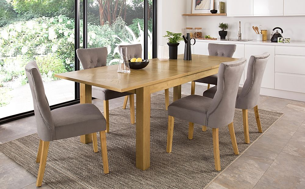 Madison Oak 180-230cm Extending Dining Table with 8 Bewley Grey Velvet Chairs