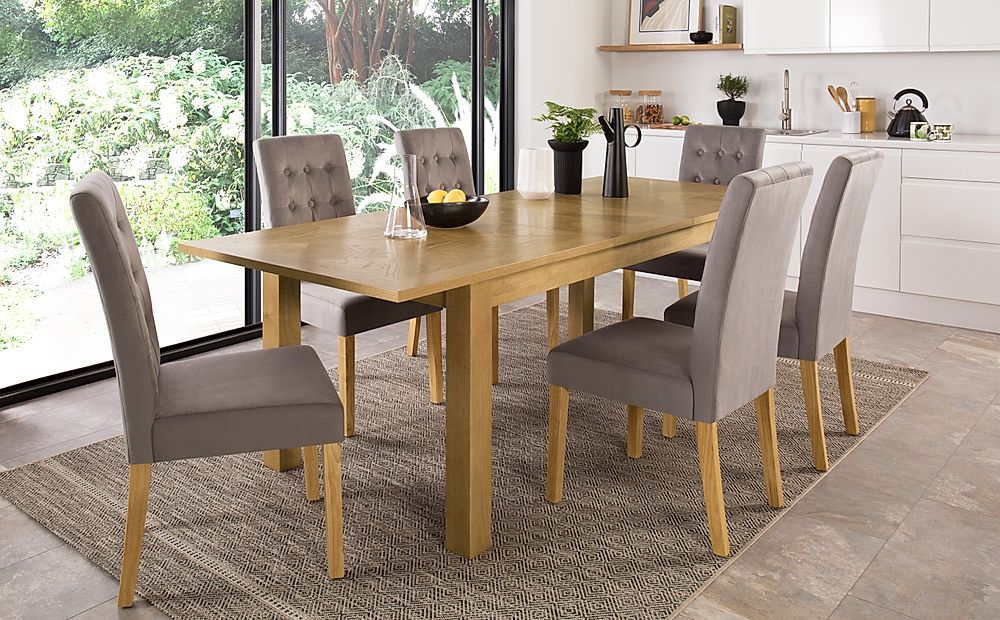 Madison 180-230cm Oak Extending Dining Table with 8 Regent Grey Velvet Chairs