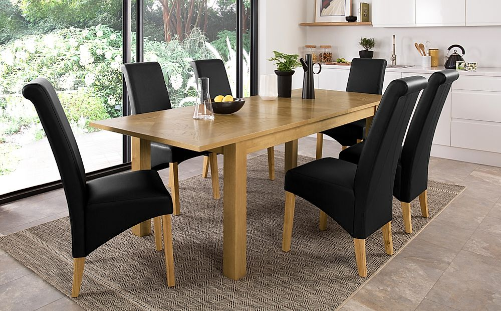 Madison Oak 180-230cm Extending Dining Table with 6 Richmond Black Leather Chairs