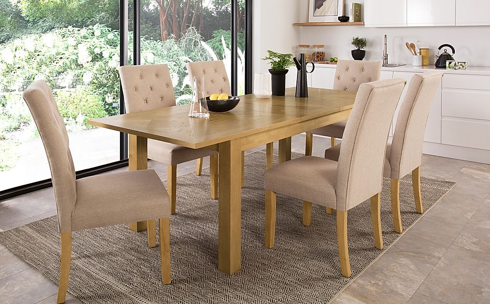 Madison 180-230cm Oak Extending Dining Table with 8 Hatfield Oatmeal Fabric Chairs