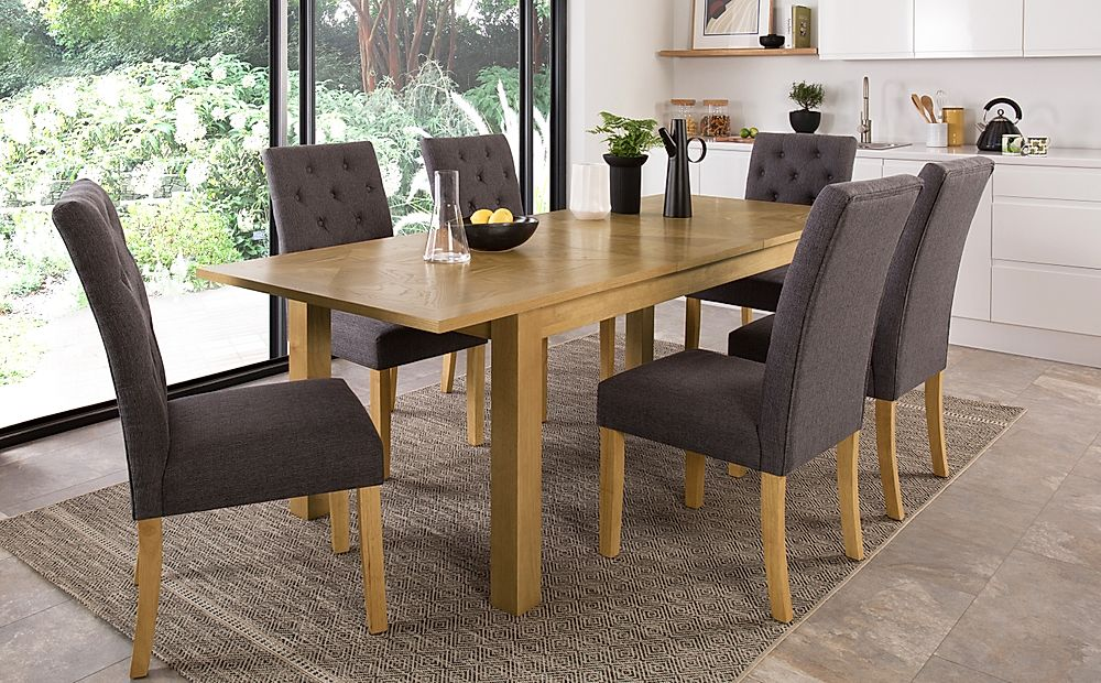Madison Oak 180-230cm Extending Dining Table with 4 Hatfield Slate Fabric Chairs
