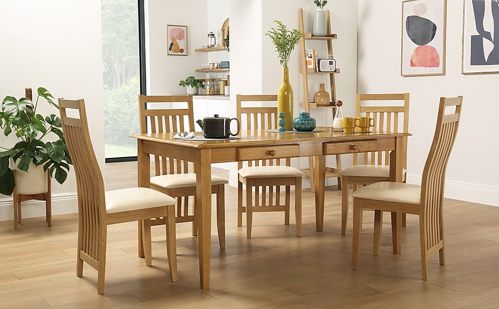 Wiltshire Oak Dining Table with Storage with 4 Bali Chairs (Ivory Seat Pad)