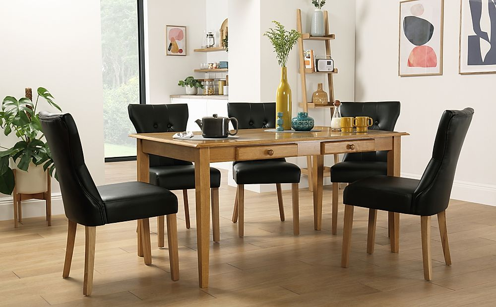 Wiltshire Oak Dining Table with Storage with 4 Bewley Black Chairs