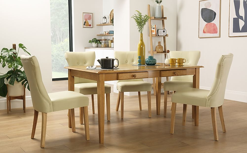 Wiltshire Oak Dining Table with Storage with 4 Bewley Ivory Chairs
