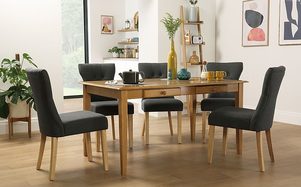 Wiltshire Oak Dining Table with Storage with 4 Bewley Slate Chairs