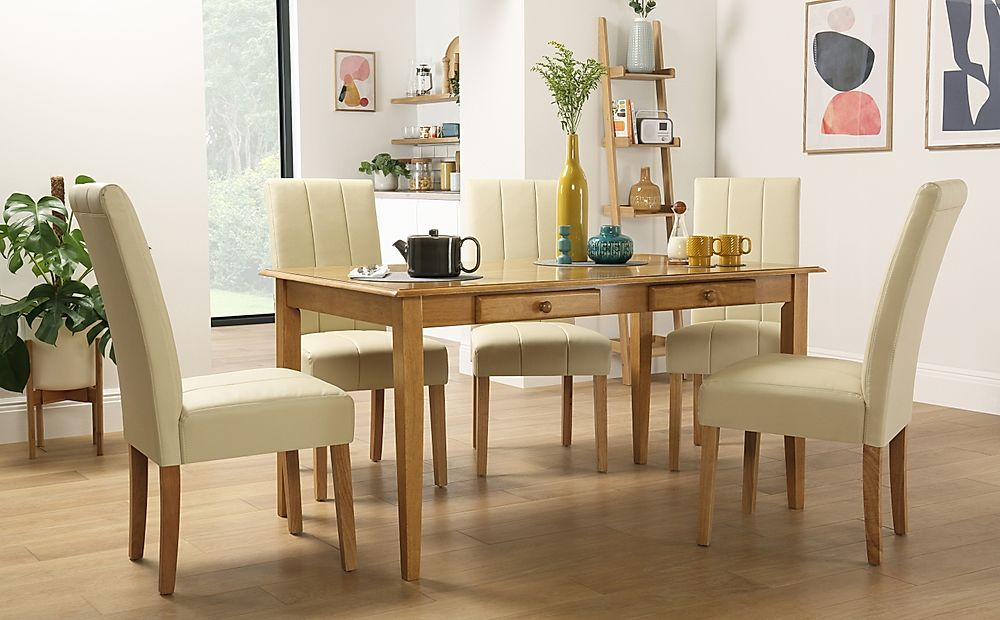 Wiltshire Oak Dining Table with Storage with 4 Carrick Ivory Chairs