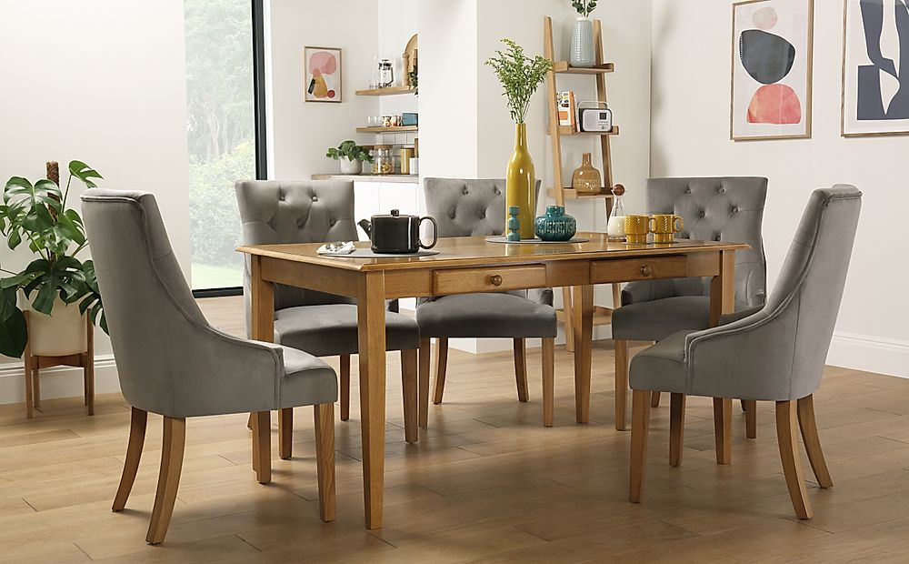 Wiltshire Oak Dining Table with Storage with 4 Duke Grey Velvet Chairs