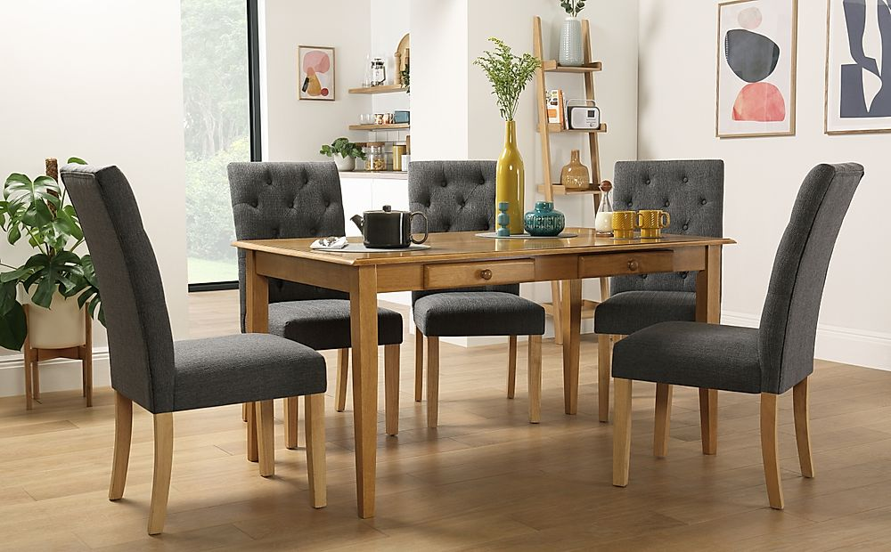 Wiltshire Oak Dining Table with Storage with 4 Hatfield Slate Chairs