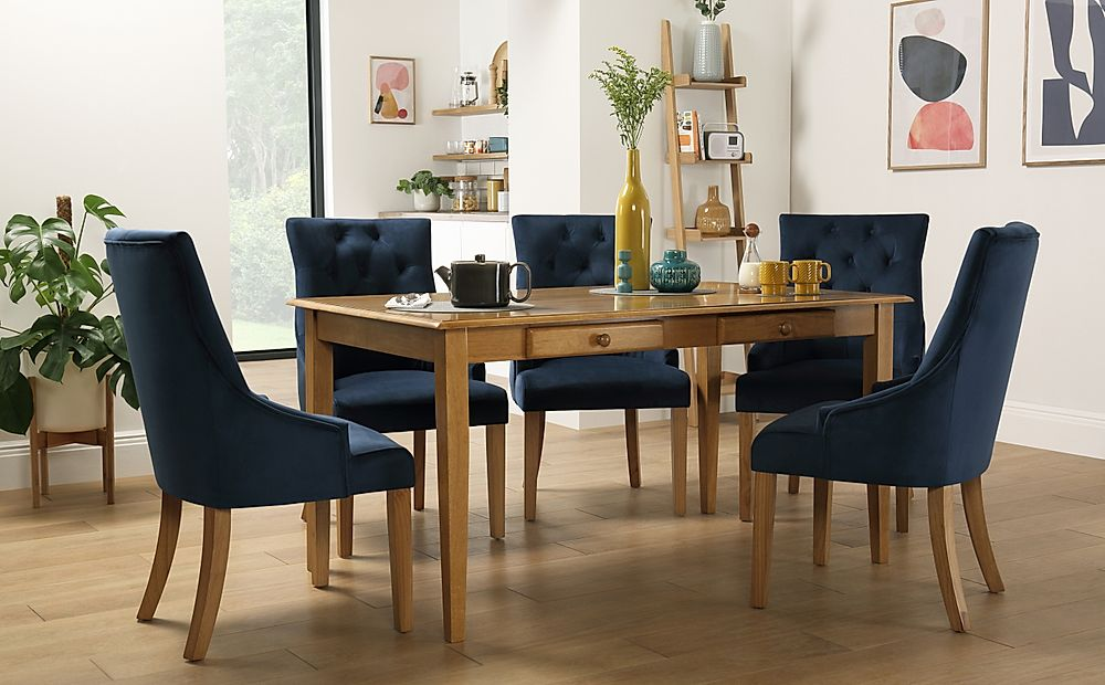 Wiltshire Oak Dining Table with Storage with 6 Duke Blue Velvet Chairs