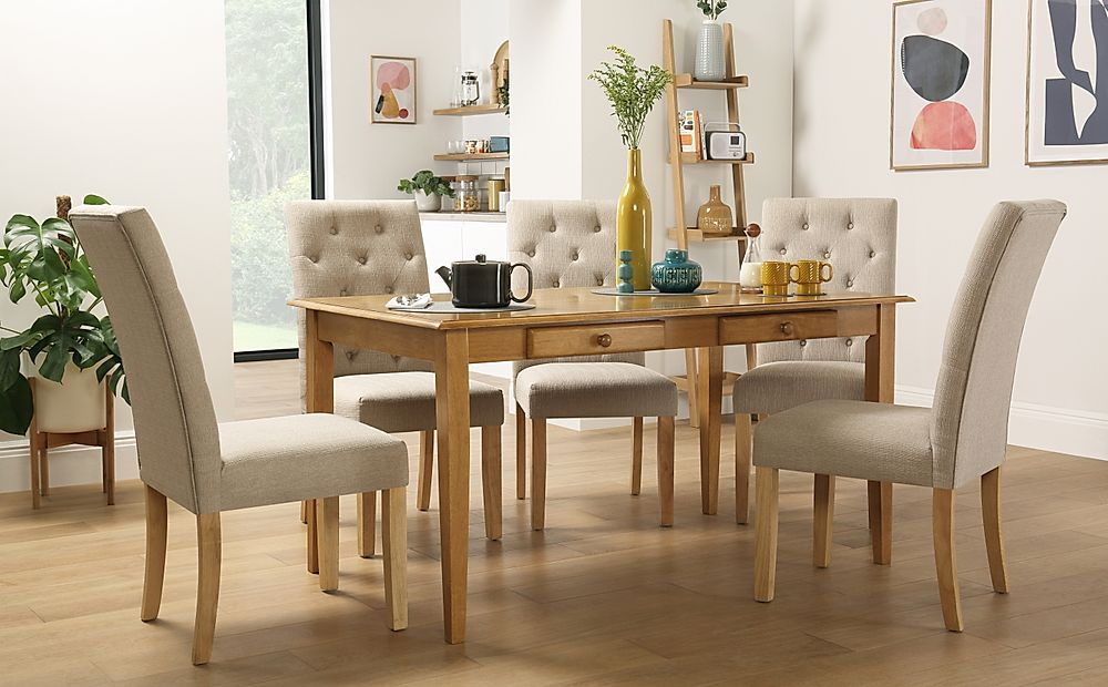 Wiltshire Oak Dining Table with Storage with 6 Hatfield Oatmeal Chairs