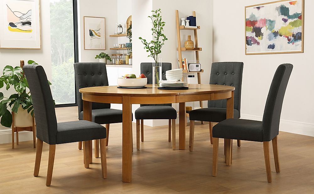 Marlborough Round Oak Extending Dining Table with 4 Regent Slate Chairs