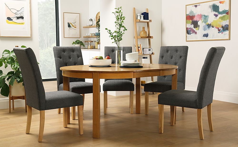 Marlborough Round Oak Extending Dining Table with 6 Hatfield Slate Chairs