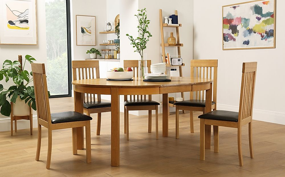 Marlborough Round Oak Extending Dining Table with 6 Oxford Chairs (Brown Seat Pad)
