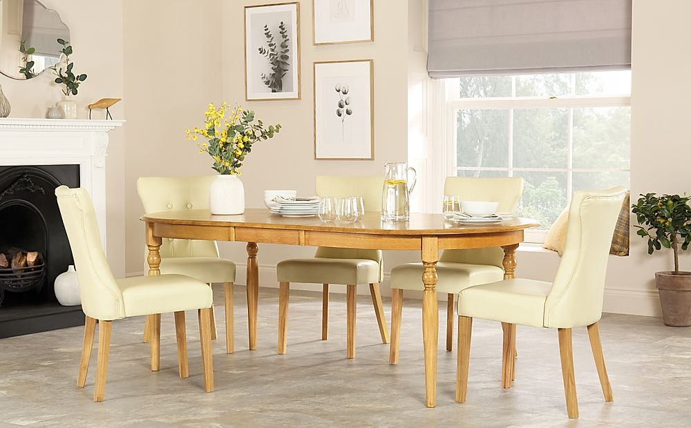 Albany Oval Oak Extending Dining Table with 4 Bewley Ivory Chairs