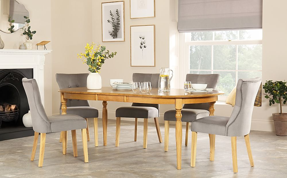 Albany Oval Oak Extending Dining Table with 4 Bewley Grey Velvet Chairs