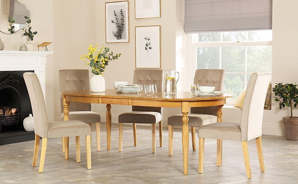 Albany Oval Oak Extending Dining Table with 4 Regent Mink Velvet Chairs