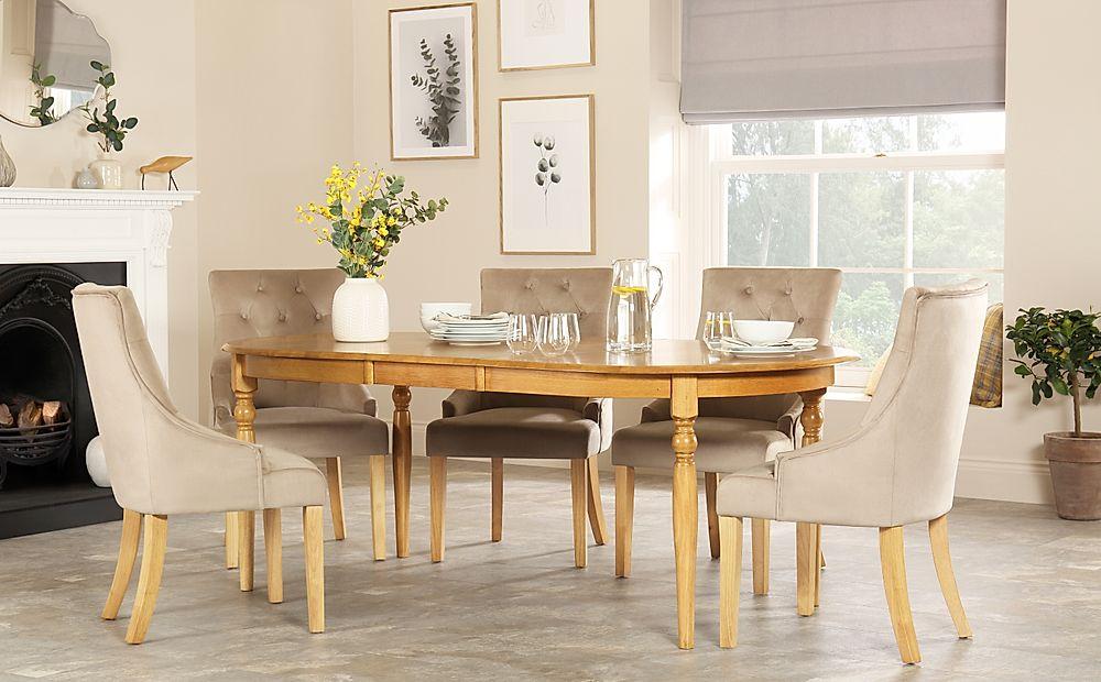 Albany Oval Oak Extending Dining Table with 6 Duke Mink Velvet Chairs