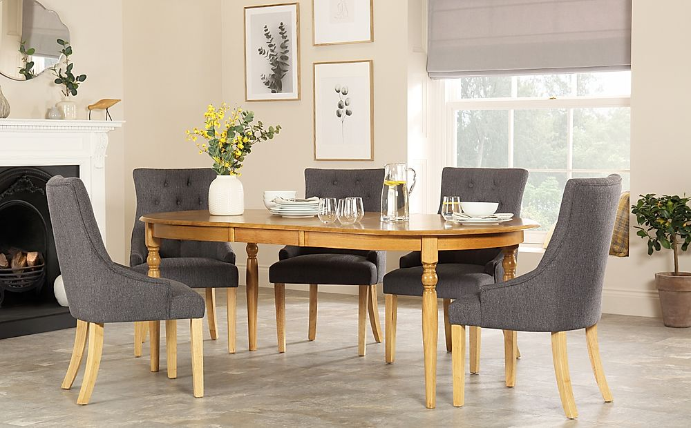 Albany Oval Oak Extending Dining Table with 6 Duke Slate Chairs