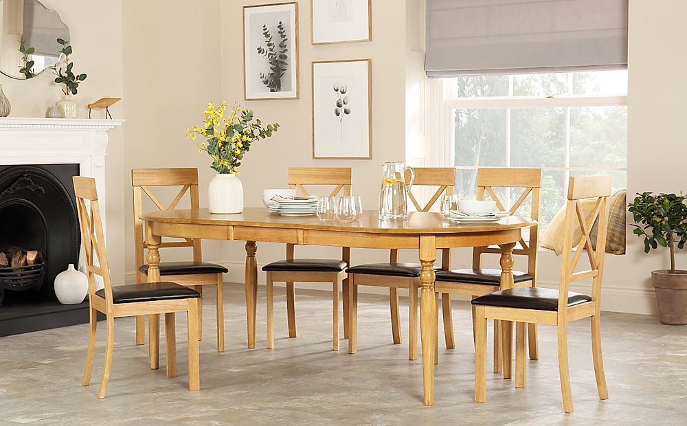 Albany Oval Oak Extending Dining Table with 6 Kendal Chairs (Brown Seat Pad)