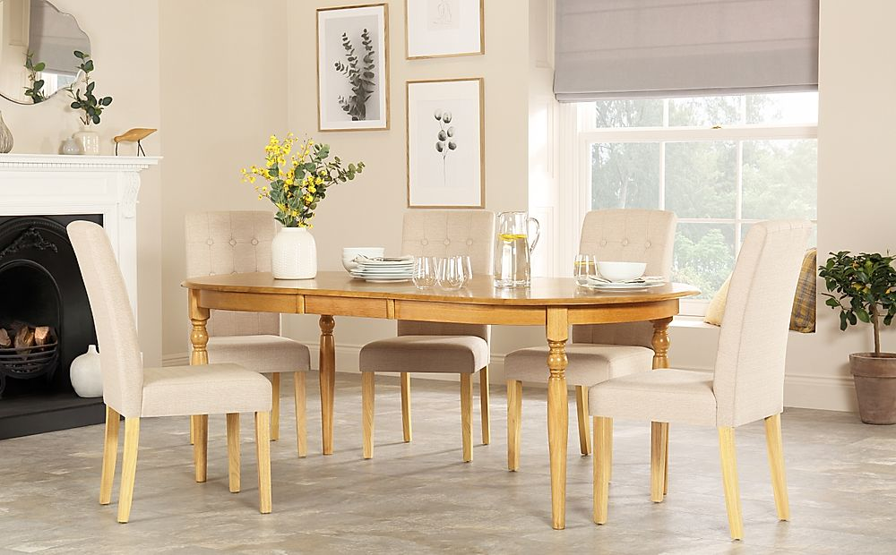 Albany Oval Oak Extending Dining Table with 6 Regent Oatmeal Chairs
