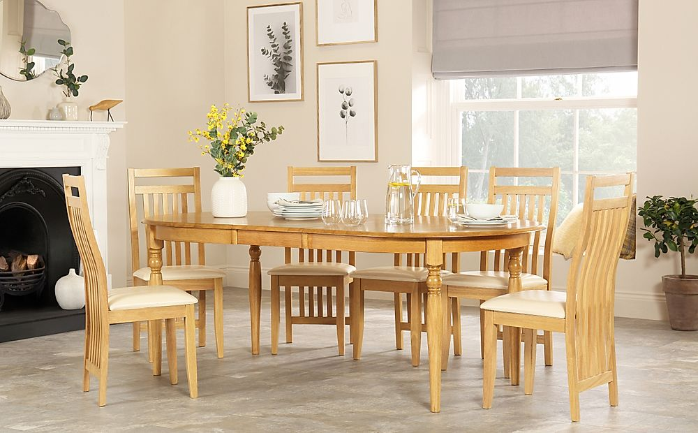 Albany Oval Oak Extending Dining Table with 8 Bali Chairs (Ivory Seat Pad)