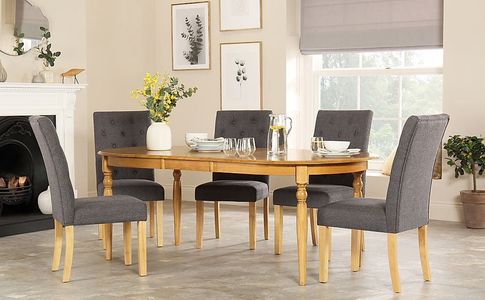 Albany Oval Oak Extending Dining Table with 8 Hatfield Slate Chairs