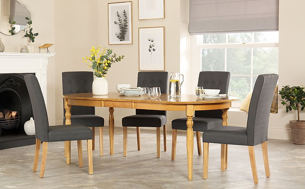 Albany Oval Oak Extending Dining Table with 8 Regent Slate Chairs