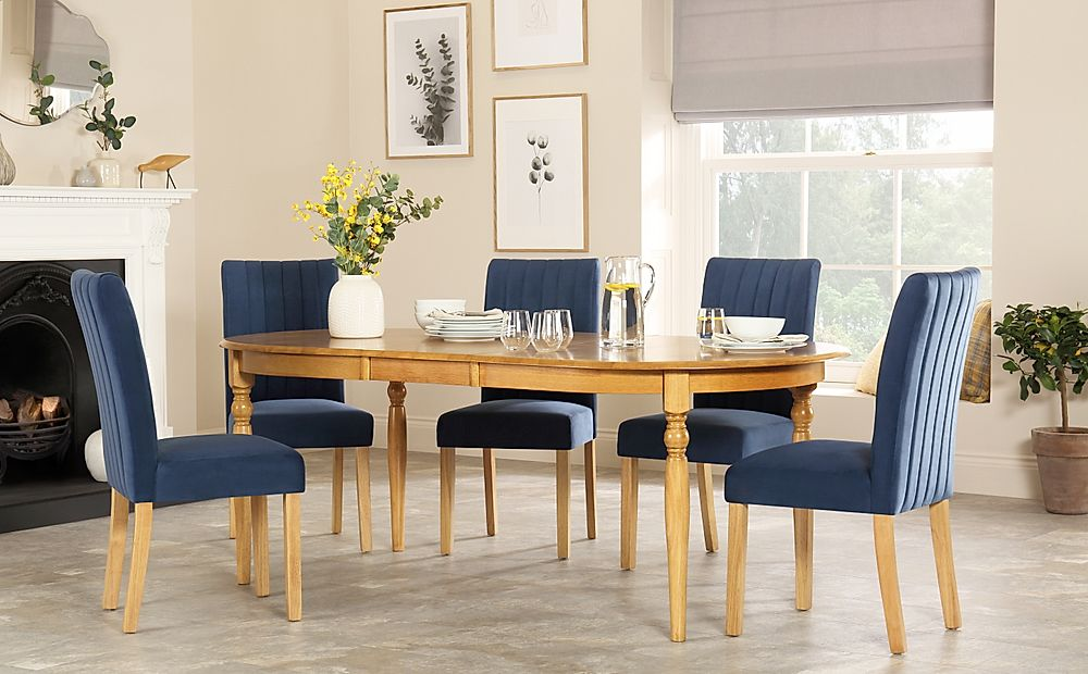 Albany Oval Oak Extending Dining Table with 8 Salisbury Blue Velvet Chairs