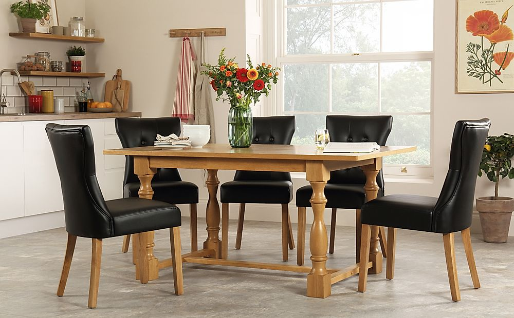 Devonshire Oak Dining Table with 4 Bewley Black Chairs