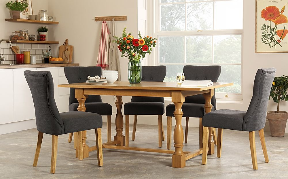 Devonshire Oak Dining Table with 4 Bewley Slate Chairs
