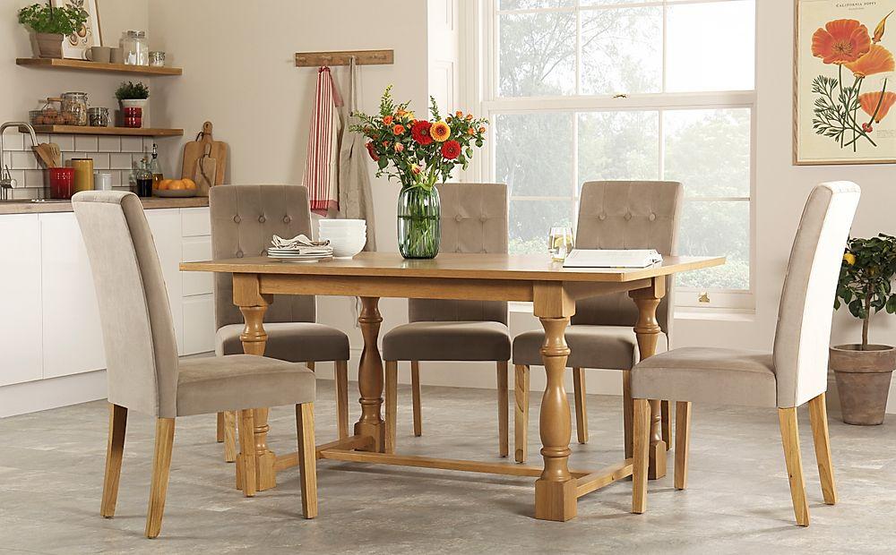 Devonshire Oak Dining Table with 4 Regent Mink Velvet Chairs