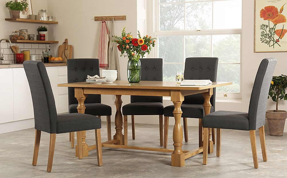Devonshire Oak Dining Table with 4 Regent Slate Chairs