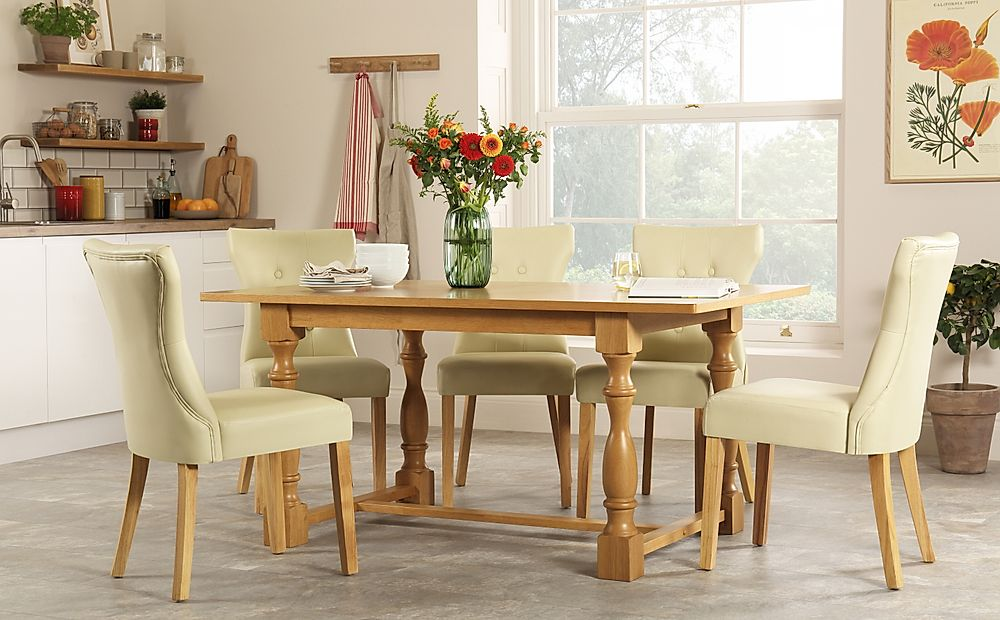 Devonshire Oak Dining Table with 6 Bewley Ivory Chairs
