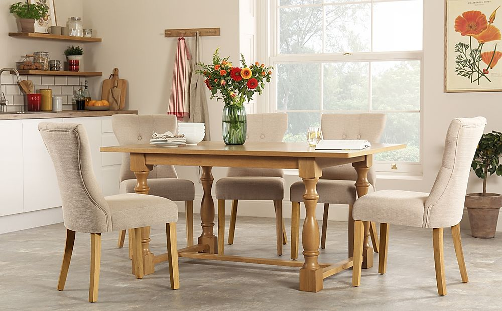 Devonshire Oak Dining Table with 6 Bewley Oatmeal Chairs